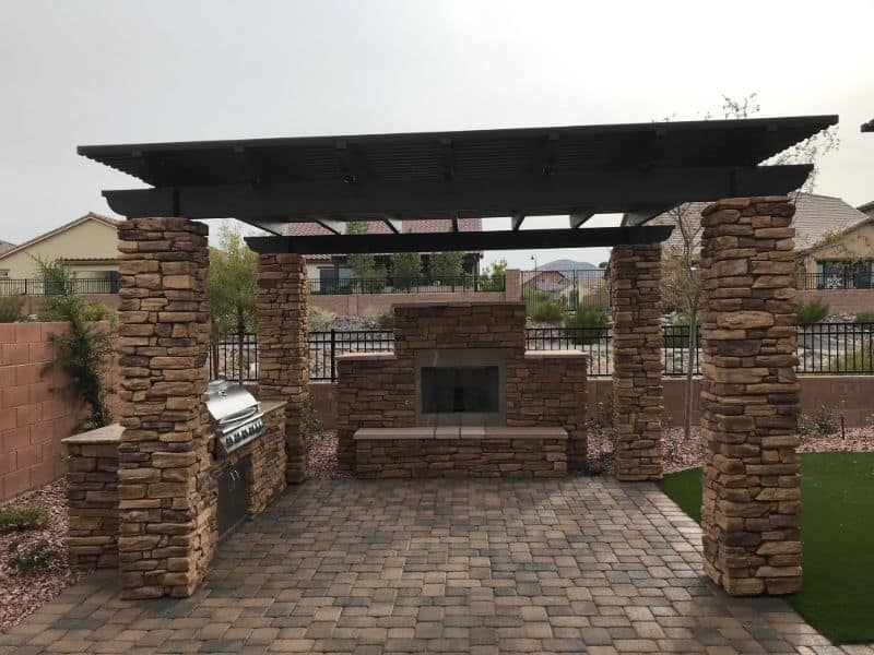 Lattice Patio Cover With Kitchen & Fireplace