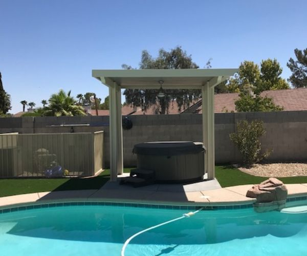 Solid Patio Cover Over Hot Tub